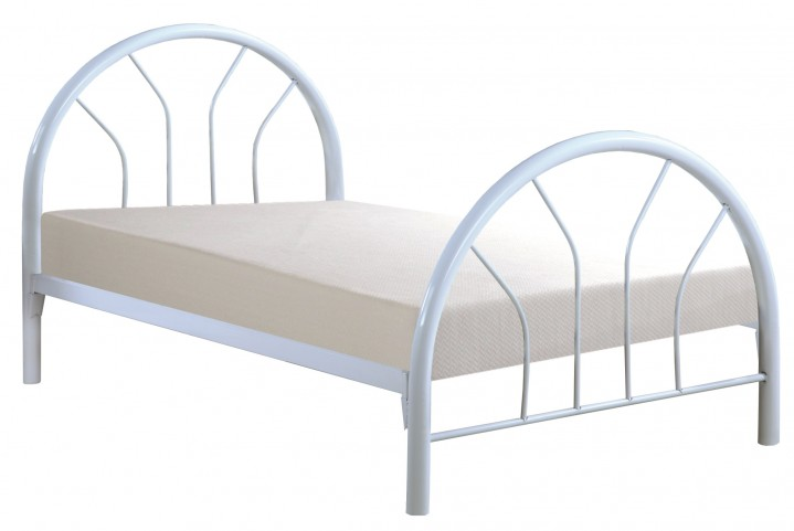 2389W White Metal Twin Bed Frame