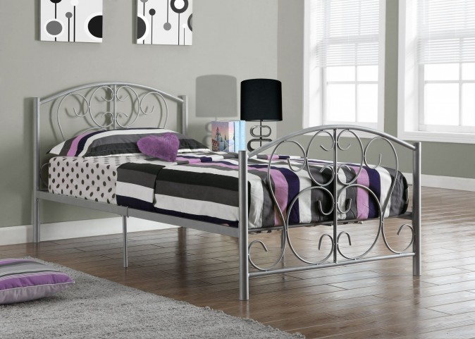 Silver Metal Twin Size Bed Frame