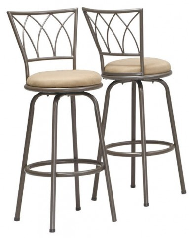 "2393 Dark Coffee Metal 43"" Swivel Barstool Set of 2"