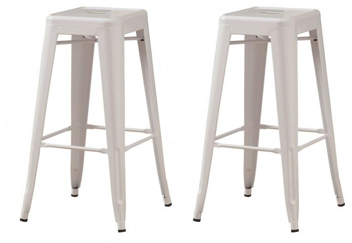 "2400 White Glossy Metal 30"" Cafe Barstool Set of 2"