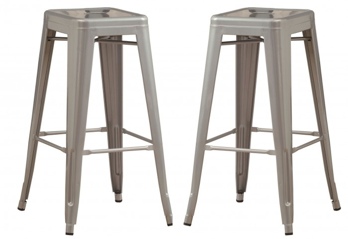 "2402 Silver Galvanized Metal 30"" Cafe Barstool Set of 2"