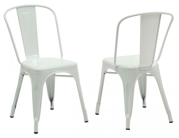 2410 White Glossy Metal Side Chair Set of 2