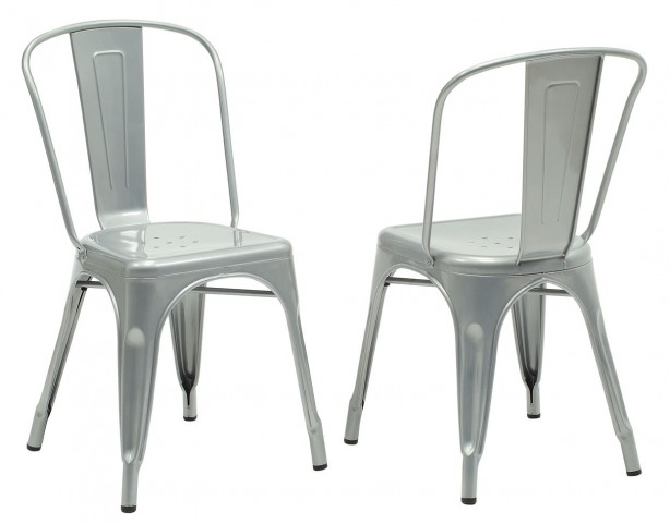 2412 Silver Galvanized Metal Side Chair Set of 2