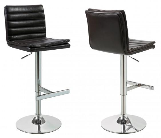 2430 Dark Brown / Chrome Metal Hydraulic Lift Barstool Set of 2