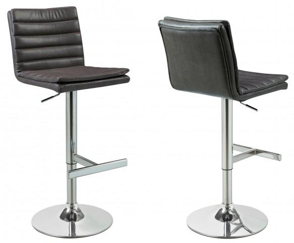 2440 Charcoal Grey / Chrome Metal Hydraulic Barstool Set of 2