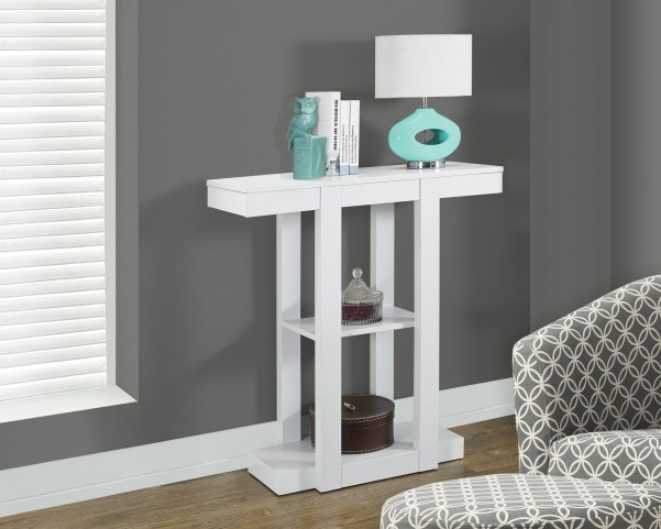 "White Tapered Leg 32"" Hall Console Accent Table"