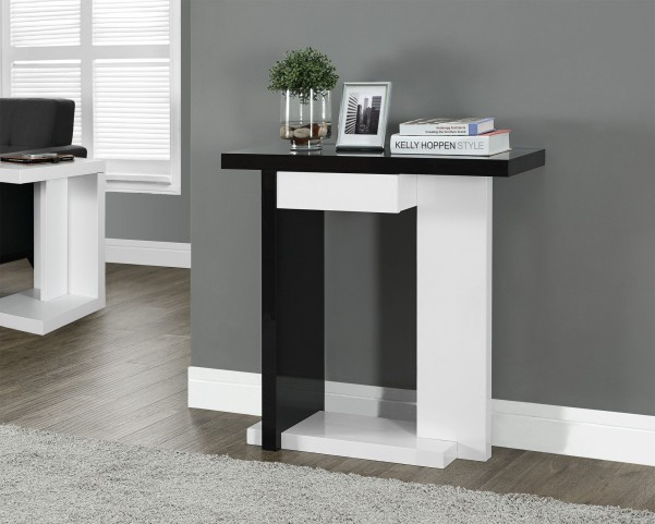"Glossy White/Black 32"" Hall Console Accent Table"