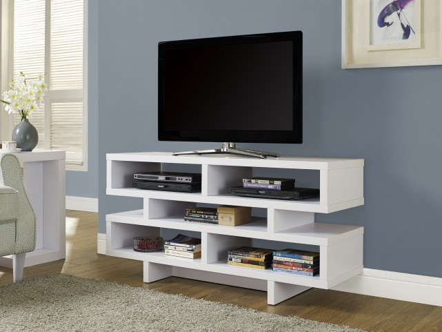 White Hollow-Core TV Console with 5 Storage Drawer