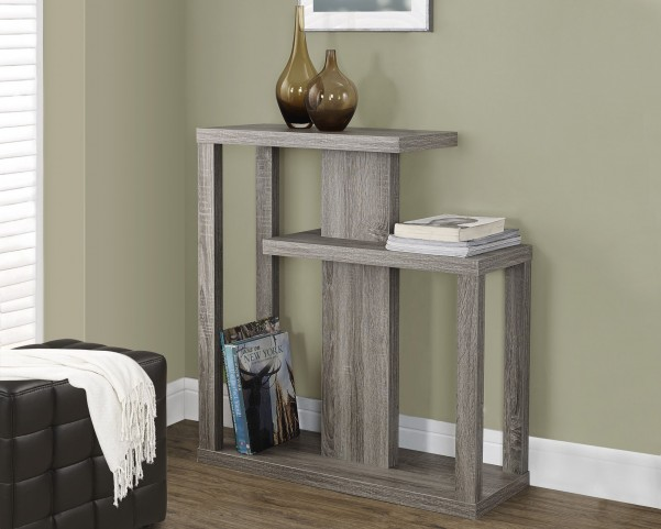 "Dark Taupe Reclaimed-Look 32"" Hall Thick symmetrical panel Accent Table"