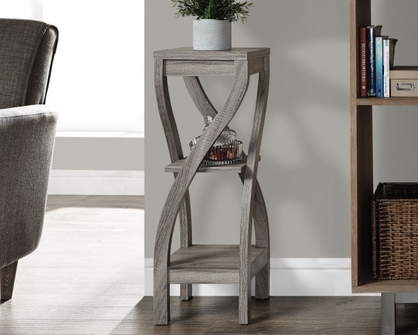 "Dark Taupe Reclaimed-Look 32"" Plant Stand"