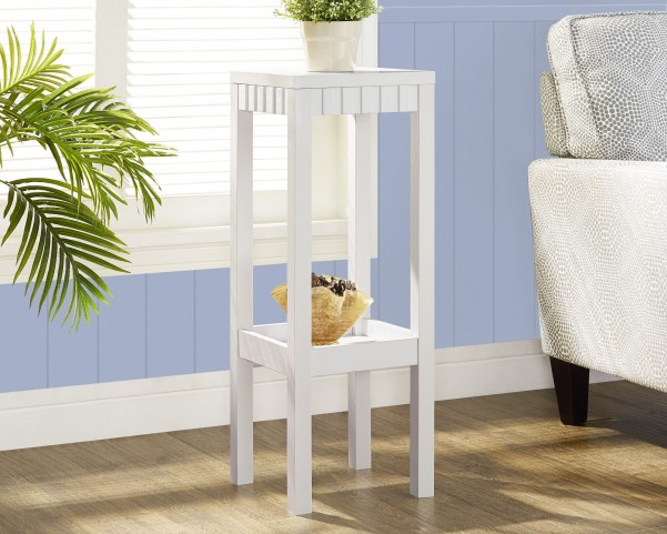 "White  Tapered Leg 32"" Plant Stand"