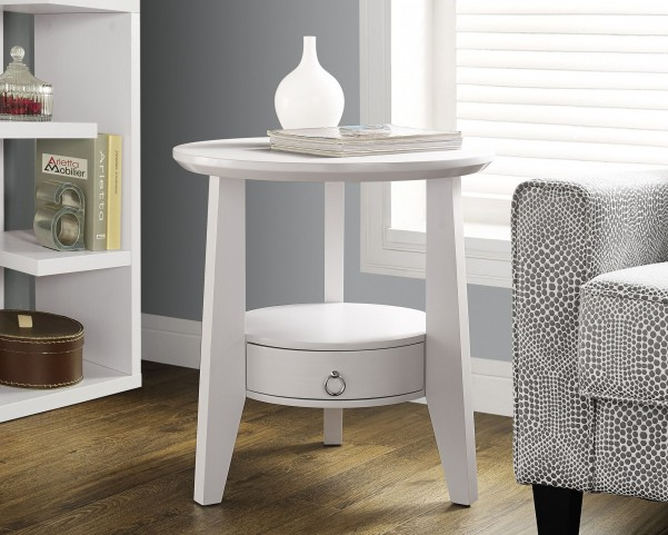 "White 23"" Diameter 1 Drawer Accent Table"