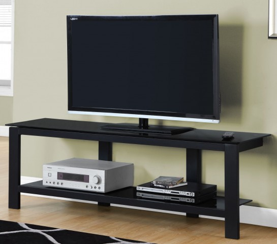 "Black Tempered Glass 60"" TV Stand"