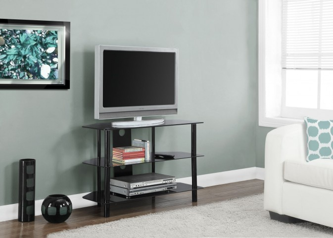 Tempered Black Glass Metal TV Stand