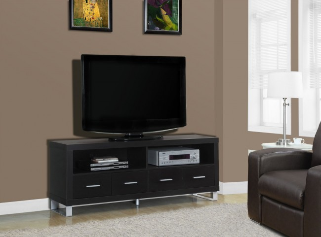 Cappuccino Hollow-Core 4 Drawers TV Console