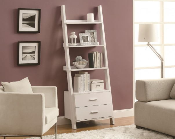 "2562 White 69"" Ladder Bookcase"