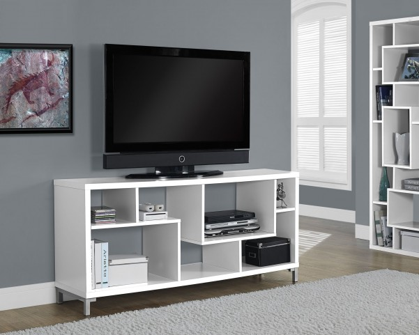 White Hollow-Core TV Console with 7 Open Concept Display Shelves