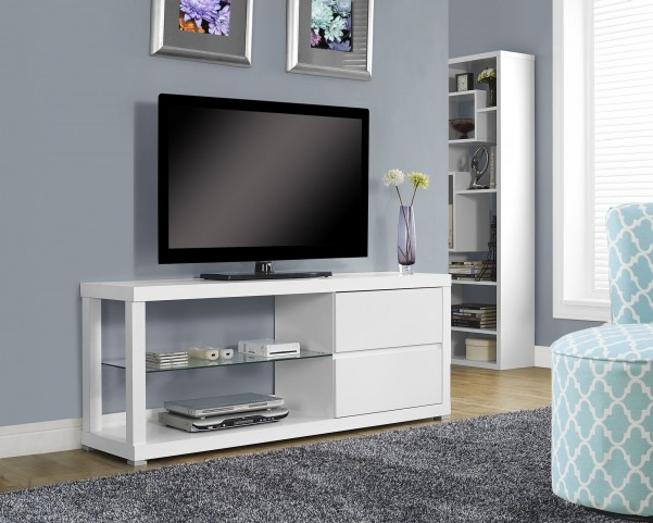 White Hollow-Core TV Console with 2 Large Storage Drawers
