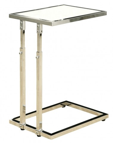 3012 Chrome Metal Adjustable Height Accent Table