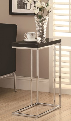 3018 Glossy Black / Chrome Accent Table