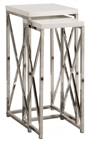 3026 Glossy White / Chrome Metal Plant Stand Set of 2