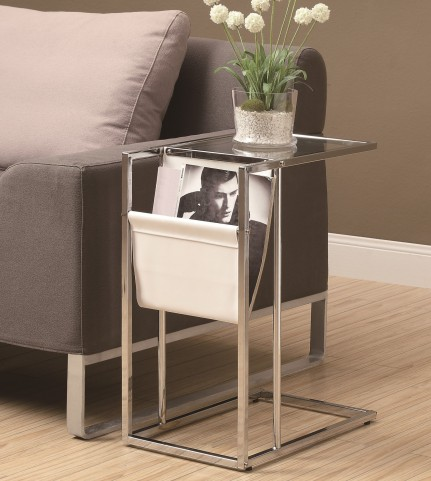 3034 White / Chrome Metal Accent Table