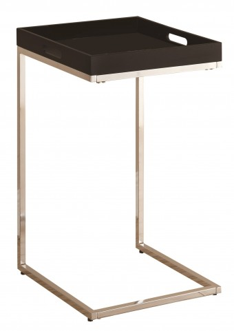3036 Cappuccino / Chrome Metal Accent Table