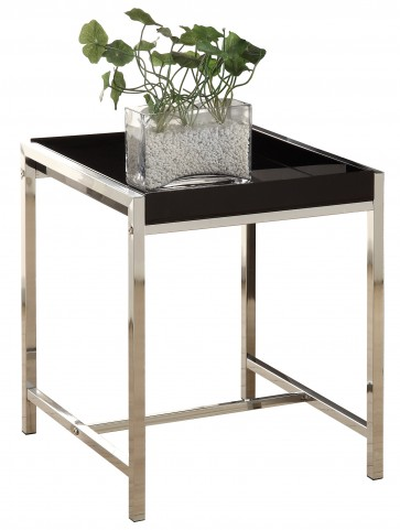 3049 Black Acrylic / Chrome Metal Accent Table