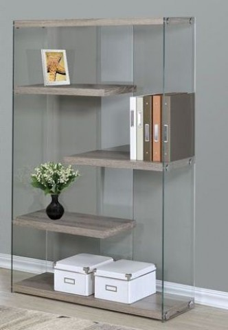"Dark Taupe Reclaimed-Look 60"" Bookcase"
