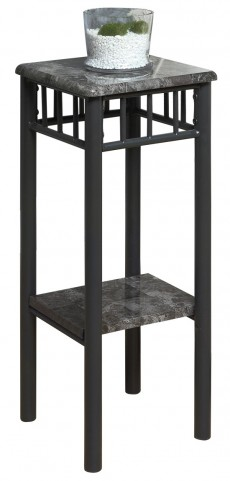 3064 Grey Marble / Charcoal Metal Plant Stand