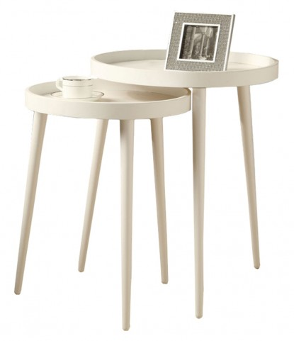 3081 White 2Pcs Nesting Tables