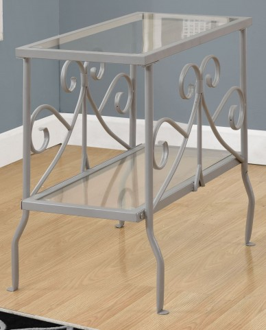 Silver Tempered Glass Accent Table