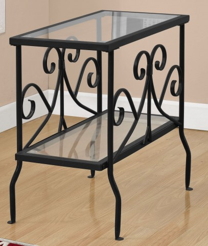 3107 Black Tempered Glass Accent Table
