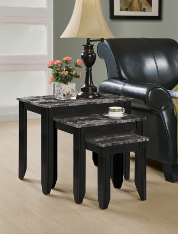 3130 Black / Grey Marble Top 3Pcs Nesting Table Set