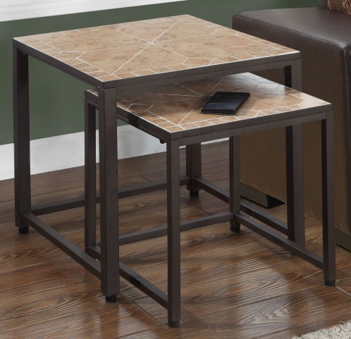 Terracotta Tile Top 2 Piece Nesting Table