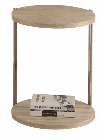 3202 Natural / Chrome Metal Accent Table