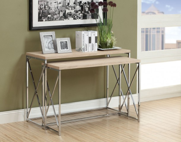 3207 Natural / Chrome Metal 2Pcs Console Tables