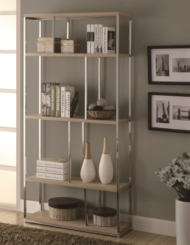 "3210 Natural / Chrome Metal 72"" Bookcase"