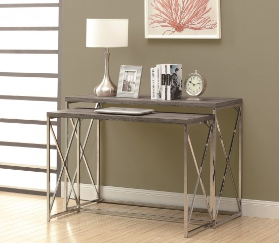 3257 Dark Taupe / Chrome 2Pcs Console Tables