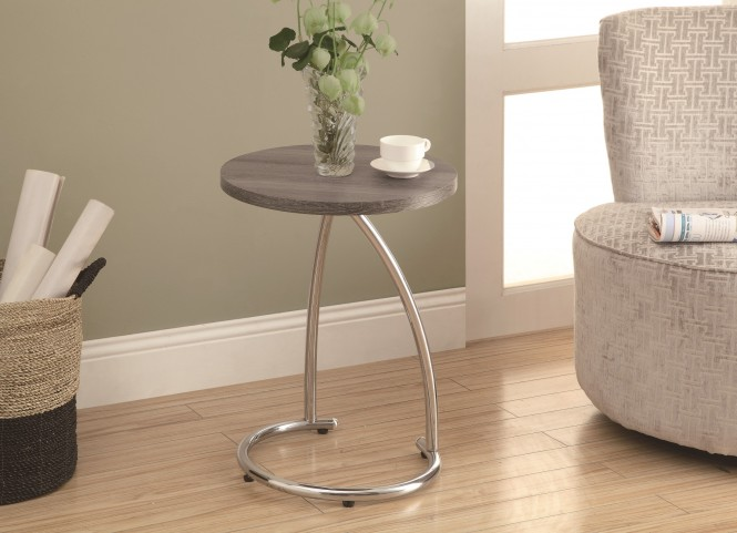 3259 Dark Taupe / Chrome Metal Accent Table