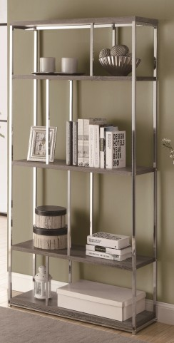 "3260 Dark Taupe / Chrome Metal 72"" Bookcase"