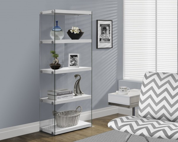 "Glossy White Hollow-Core 60"" Bookcase"