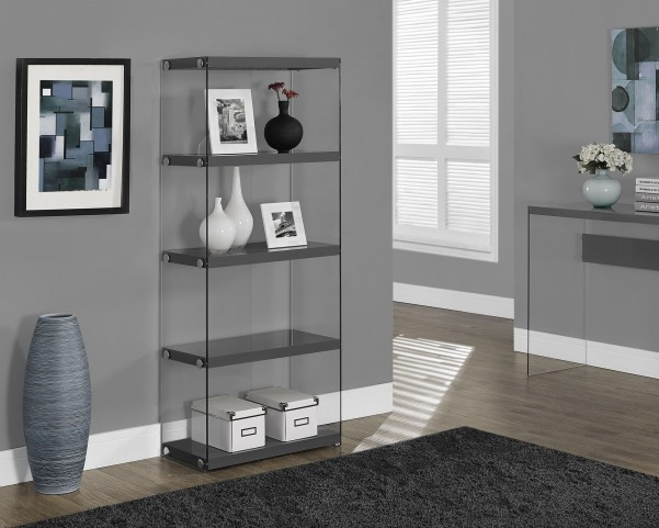 """Glossy Gray Hollow-Core 60"""" Bookcase"""