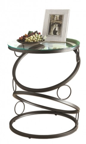 3317 Matte Black Metal Accent Table