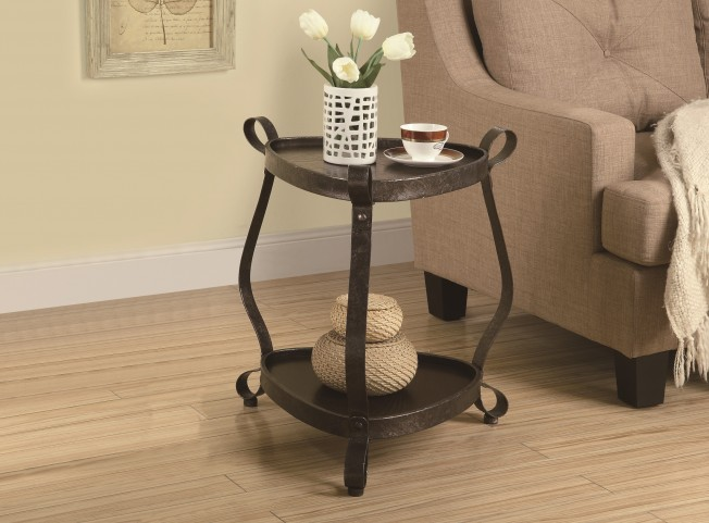3319 Bronze Metal / Brown Accent Table