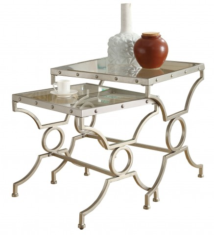 3321 Satin Silver 2Pcs Nesting Tables