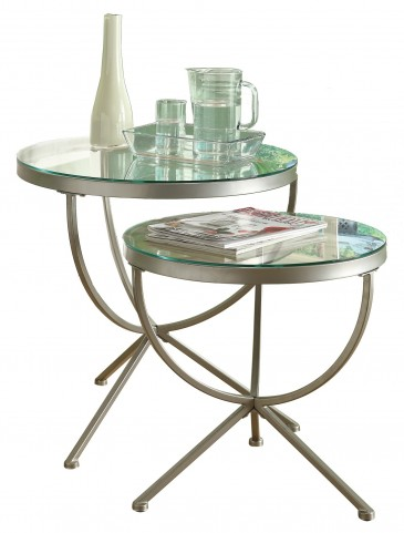 3322 Satin Silver 2Pcs Nesting Tables