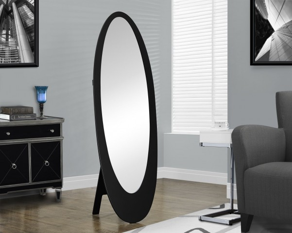 Black Oval Cheval Mirror