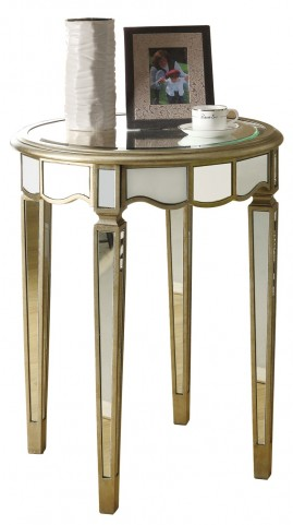3703 Brushed Silver / Mirrored Scalloped Accent Table