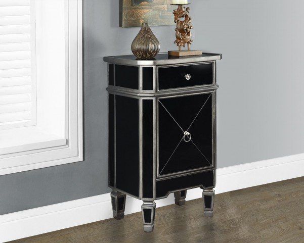 "Brushed Charcoal gray/Black Mirrored 29"" Accent Table"